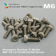 12 pcs M6 Ti Bolt M6 10-35mm lengths Grade 5 Titanium bolt original Ti color Hexagon Socket titanium screws Ti fastener(China)