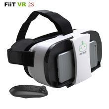 FiiT VR 2S Head Mount 3 D Cardboard Virtual Reality Goggles VR Headset Glasses Phone 3D Video Game Private Theater+Controller(China)