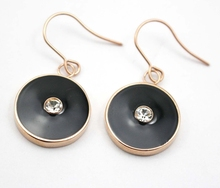 Punk Style Flash Deal Earrings Individual Designer Enamel Round Rose Gold Color Crystal Drop Earrings Stainless Steel