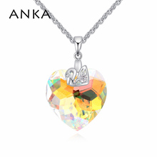 ANKA top quality colorful heart shaped swan necklace with Crystal from Swarovski for women wedding brand jewelry gift 124807