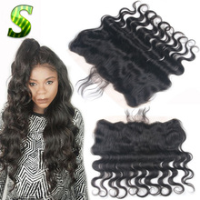 Brazilian Body Wave Lace Frontal Closure Bleached Knots 13X4 Virgin Human Hair Ear To Ear Full Lace Frontal Piece With Baby Hair