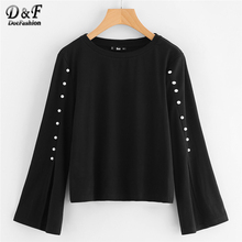 Dotfashion Pearl Beaded Split Sleeve Top Black Round Neck Tunic Blouse 2017 Woman Autumn Long Sleeve Plain Blouse(China)