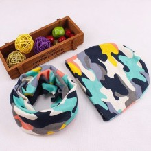 Baby Hat Nice Camo Print Cotton Children Hat Scarf Collar Spring Baby Cap Kids Boys Girls Beanies Infant Toddler Hats Set(China)