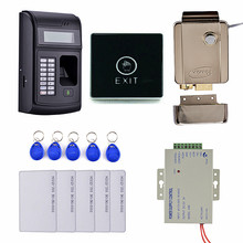 Key Card + Touch Door Switch + LCD Biometric PIN Code 125KHz RFID ID Card Reader Door Lock Fingerprint Access Control System(China)