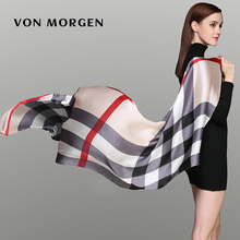 [von morgen]  silk Beach Women's Scarves Luxury Brand  Ladies Classic Plaid Silk Scarf Women Accessories Pashmina Shawl