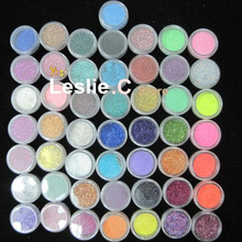 Free shipping 50 COLOUR PARTY Nail Art Glitter Dust Eyeshadows BODY PIGMENT /hair Powder DIY Nail Art Care Tools#UAG50