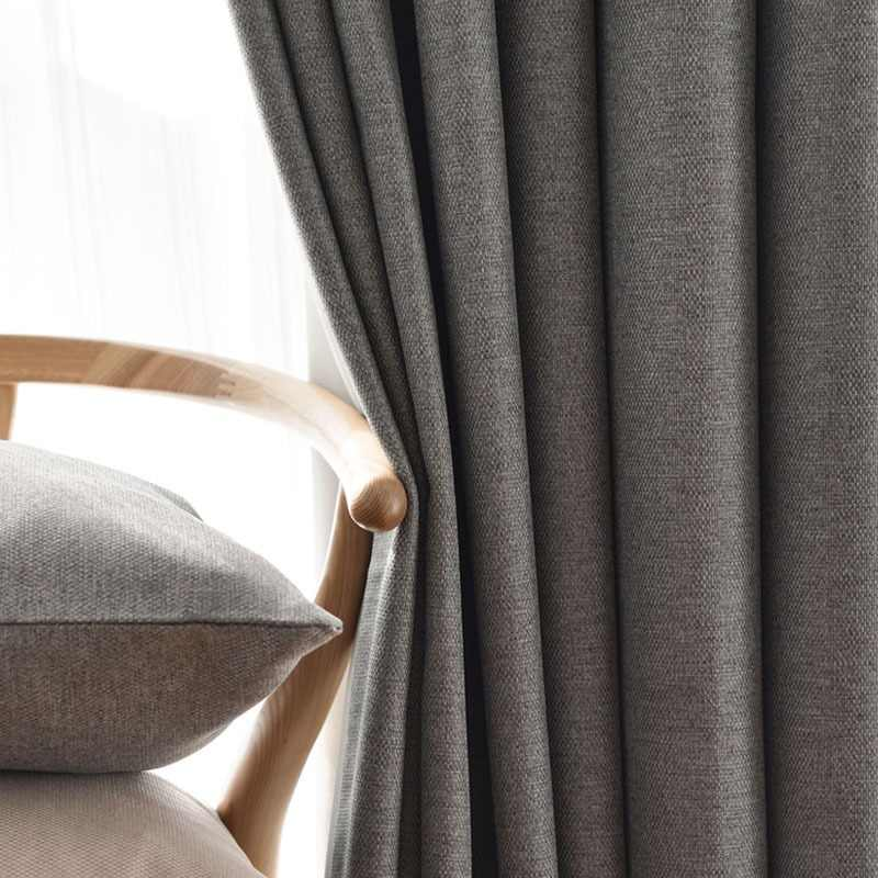 YCENTRE Faux Linen 70%-85% Shading Custom Made Insulating Modern Style Solid Color Blackout Curtain For Living Room Window