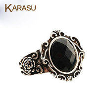 KARASU 5 piece/lot Retro Vintage Bronze Flower Crystal Resin Rings Cool Ring Accessories(China)