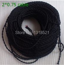 Free shipping Retro lamp wire 20m/Lot 2 * 0.75 black color, soft twisted pair, lamp wire, chandelier line, Electrical Wires