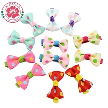 20 Pcs/lot Hot Candy Color Solid/ Dot/ Flower Print Ribbon Bow Hairpin BB Hair Clips Kids Hair Accessories 601(China)