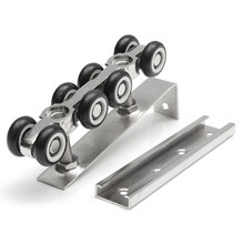 MTGATHER 1 Pair/set Cold Rolled Steel Sliding Wooden Door Closet Hardware Kit 8 Wheels Hangers Roller Cold Rolled Steel Best