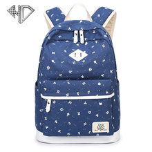 Fashion Women Backpack for School Teenager Girls Vintage Stylish School Bag Ladies Cotton Fabric Backpack Female Bookbag Mochila(China)