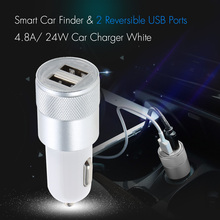 Smart Car Finder & 2 Reversible USB Ports 4.8A/ 24W Car Charger Blue(China)