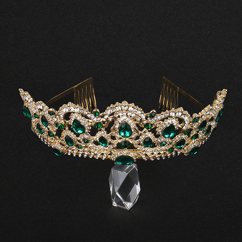 KMVEXO European Drop Green Red Crystal Tiaras Vintage Gold Rhinestone Pageant Crowns With Comb Baroque Wedding Hair Accessories 3