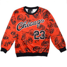 New Fashion Hoodies Men/Women Rose Floral Pullovers Chicago Jordan 23 Printed 3D Jumper Crew neck Sweatshirts Casual Colthing(China)