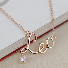 DCM Free Shipping Jewelry rose gold Color Crystal Necklace Fashion necklace Words Leo Necklace Gift choker for women