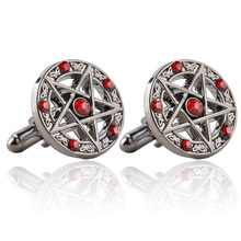 Classic Movie Series New Arrival Fashion Antique Silver Pentagram Cufflinks Red / Black Crystal Vintage Metal Cuff Links