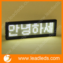 2017 Promotion 44x11 Dots White Color Led Name Board / Badge Sign ,rechargeable Business Name Card Led Message Tag