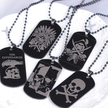 1Pcs Engraved Skull Photos Pendant Necklace Stainless Steel Necklace Jewelry Customized Dog Tag Necklace 5 Styles