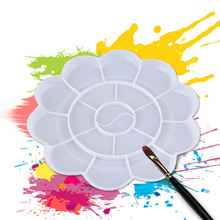 Flower Shape Plastic Plate Artist Mixing Paint Palette Watercolours NEW New Hot!