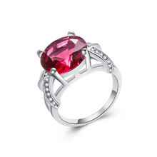 Pink Stone Women Ring 1pc Silver Color Bijoux Lady Round Rose Red Ring Size 6 7 8 9 10 11 12 13 Free Shipping New Retail