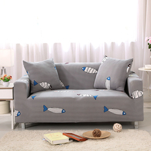 Sofa Covers Elastic Spandex Fish Printed Sofa Covers Gray Polyester Protector Pattern Sofa Covers V20