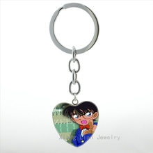 Japanese Comic cartoon movie case for Detective Conan keychain fashion anime image men women key chain ring jewelry girls HP304