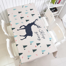 Cartoon Deer Printed Thicking Lovely Tablecloths Christmas Style Cotton Linen Rectangular Table Cover Dinning Decor Table Cloth