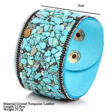IF YOU Vintage Mutilple Cyan Artificial Stone Wide Leather Bracelets For Women 2017 Brand New Handmade Bracelets & Bangles