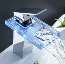 LED Color Chaning Basin Vessel Sink Faucet Waterfall Glass Spout Mixer Tap(China)