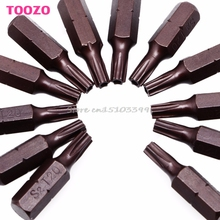 "12Pcs 25mm 1/4"" Hex Shank Magnetic T20 Torx Security Screwdriver Bits With Hole #G205M# Best Quality(China)"