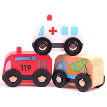 6pcs/lot baby cute wooden Brand car toys/ kids child wood pull back Mini cartoon ambulance/ fire engine bus , free shipping(China)