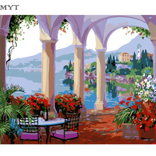 Palace Sea View Painting Picture By Number DIY Handpainted Wall Arcylic Paint Landscape Gift 40X50 cm Coloring By Number Atrs(China)