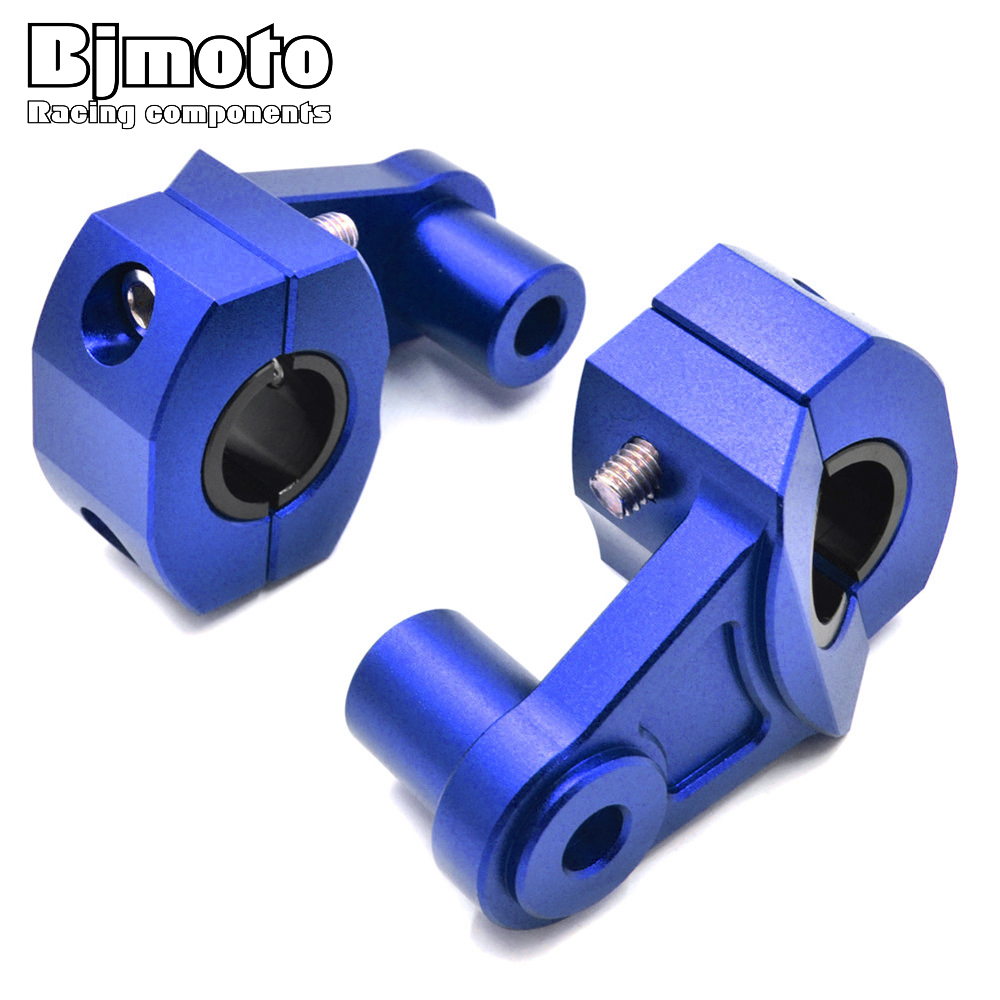 BJMOTO Universal Anodized 2-1/4 inch Pivoting Motorcycle Handlebar Riser Bracket For Dirt Bikes ATVs 22mm Bars Clamp<br>