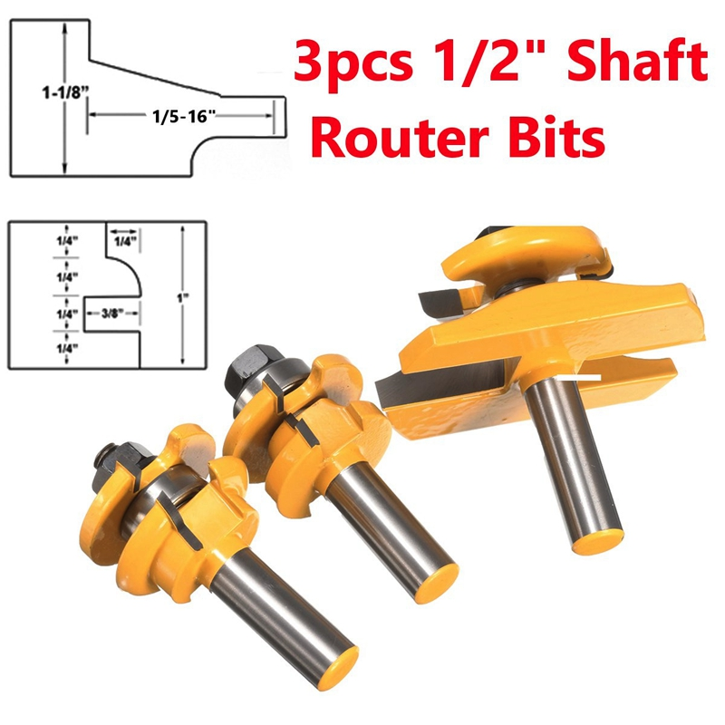 3pcs Router Bits Round Over Rail Plate Cutter Stile Cove Panel Raiser Material alloy<br><br>Aliexpress
