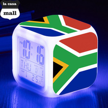 Flag of South Africa LED Alarm Clock Brand Watch 7 Color Flash Digital Clocks Kids reloj despertador LCD electronic desk clock(China)