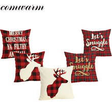 Comwarm Christmas Letter Plaid Pattern Pillow Case Linen Cotton Deer Red Color Dining Chair Pillow Cover For Sleeping Traveling(China)