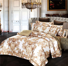 2017 Luxury Bedding Set New Designer satin Bedding Sets Bed Sheet Jacquard Bedding Sets Duvet Cover(China)