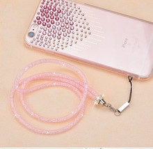 Wholesale New Lanyards Neck Strap Bling Glitter crystal luxury diamond Candy color Universal Mobile Phone Straps key chain