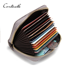 CONTACT'S 2017 New Genuine Leather Women Card Holder Wallets High Quality Female Credit Card Holder Trunk Card holder Coin Purse(China)