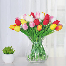 10pcs Silk Tulip high artificial flower single silk flower living room dining table decoration pu material 34cm hand tulips