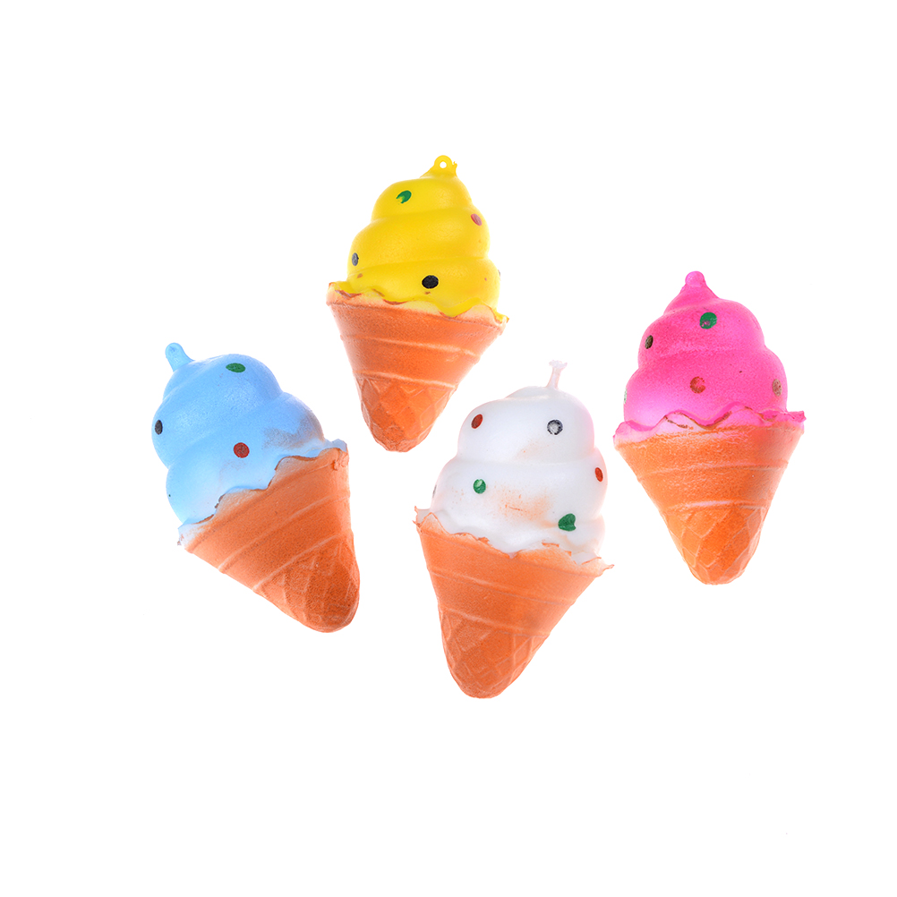 Wholesale Slow Rising Soft Package Mobile Phone Strapes Kitchen Toys Super Jumbo White Ice Cream Cone Squishy Scented Rich And Magnificent Automobiles Advertising
