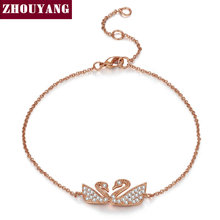 Buy ZHOUYANG Top Happiness Swan Crystal Rose Gold Color Bracelet Jewelry Austrian Crystals Wholesale ZYH097 ZYH098 for $2.68 in AliExpress store