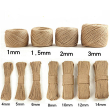 Hemp-Rope Jute Twisted 1-16mm Cords Diy-Decoration Home-Table-Bags 100m Eco-Friendly
