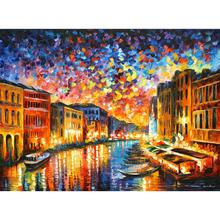 Contemporary art venice grand canal knife oil painting canvas beautiful landscape pictures for wall decor(China)