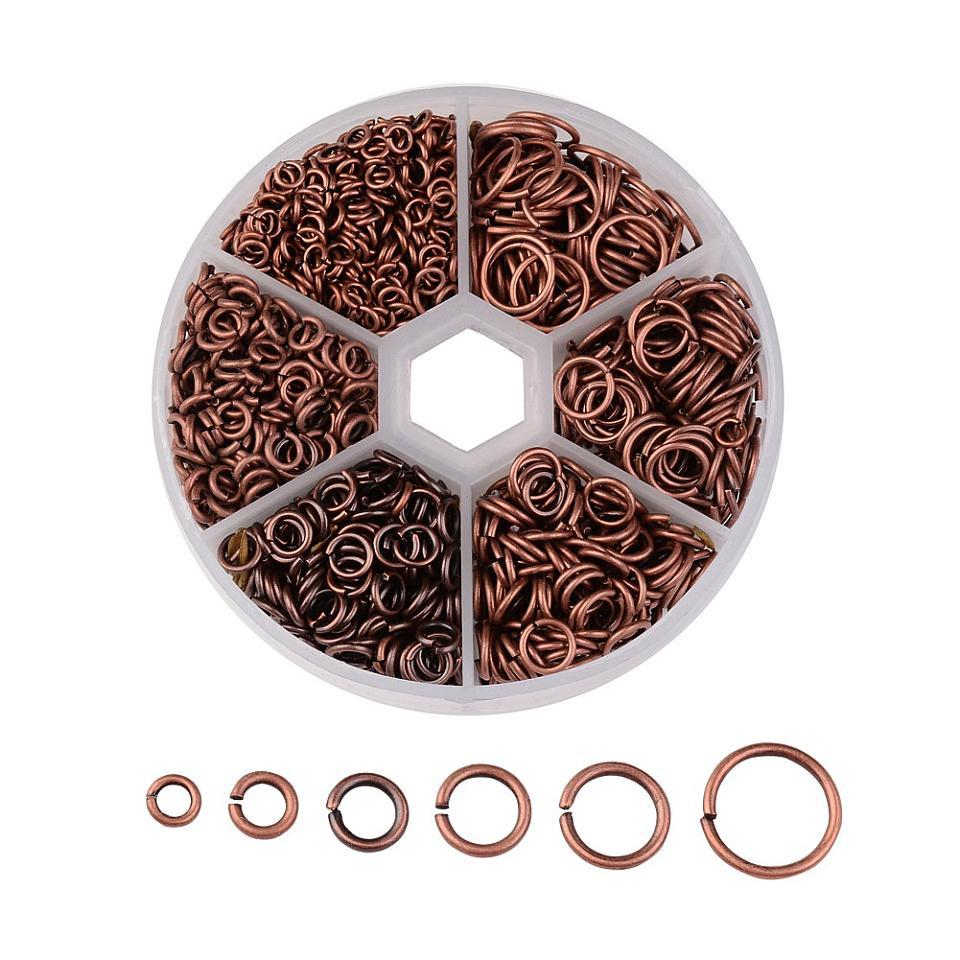 Iron Jump Rings for Jewelry Making DIY Metal Findings Red Copper Antique Bronze Nickel Free Mix Sizes 4~10x0.7~1mm,1745pcs/box 1
