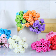 144pcs/lot 2.5cm Artificial Foam PE Rose Bouquet fake flower For Home Wedding Car Decoration DIY Pompom Wreath Decorative Bridal(China)