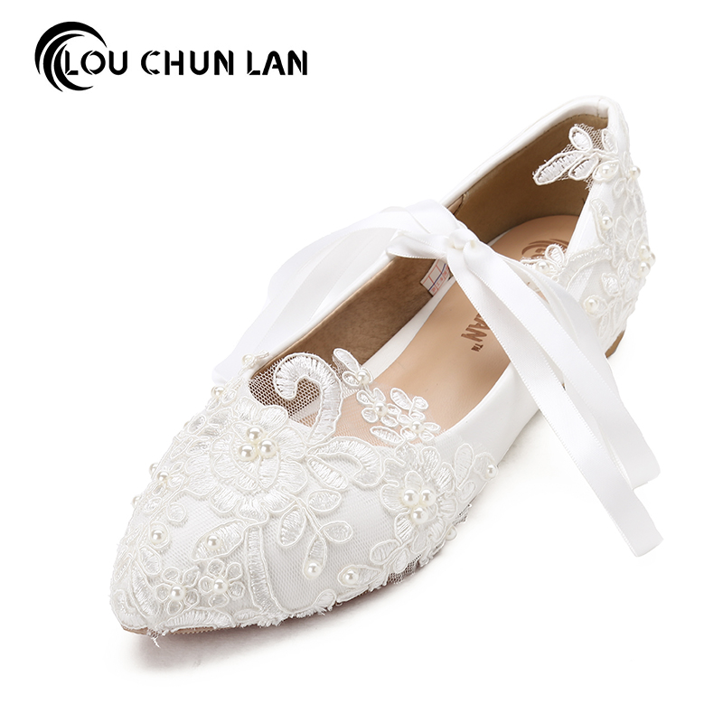 Women Shoes Adult Flats Wedding Shoes Party Large Size 41-47 Pearl Rhinestone Beaded Anklet Lace-Up Shoes White Bridesmaid Shoes<br>