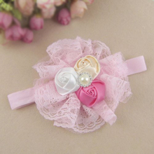 FS Hot NEW Girl Headband Rose Flower Lace Headwear Hair Band Pink