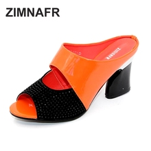 ZIMNAFR brand  2016 hot sale women genuine leather slippers rhinestone thick high-heeled  sandals open toe plus szie 34-42